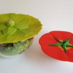 Kleurige siliconen 'groenten'deksels sluiten luchtdicht af