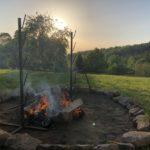 Fire pit roast lamb